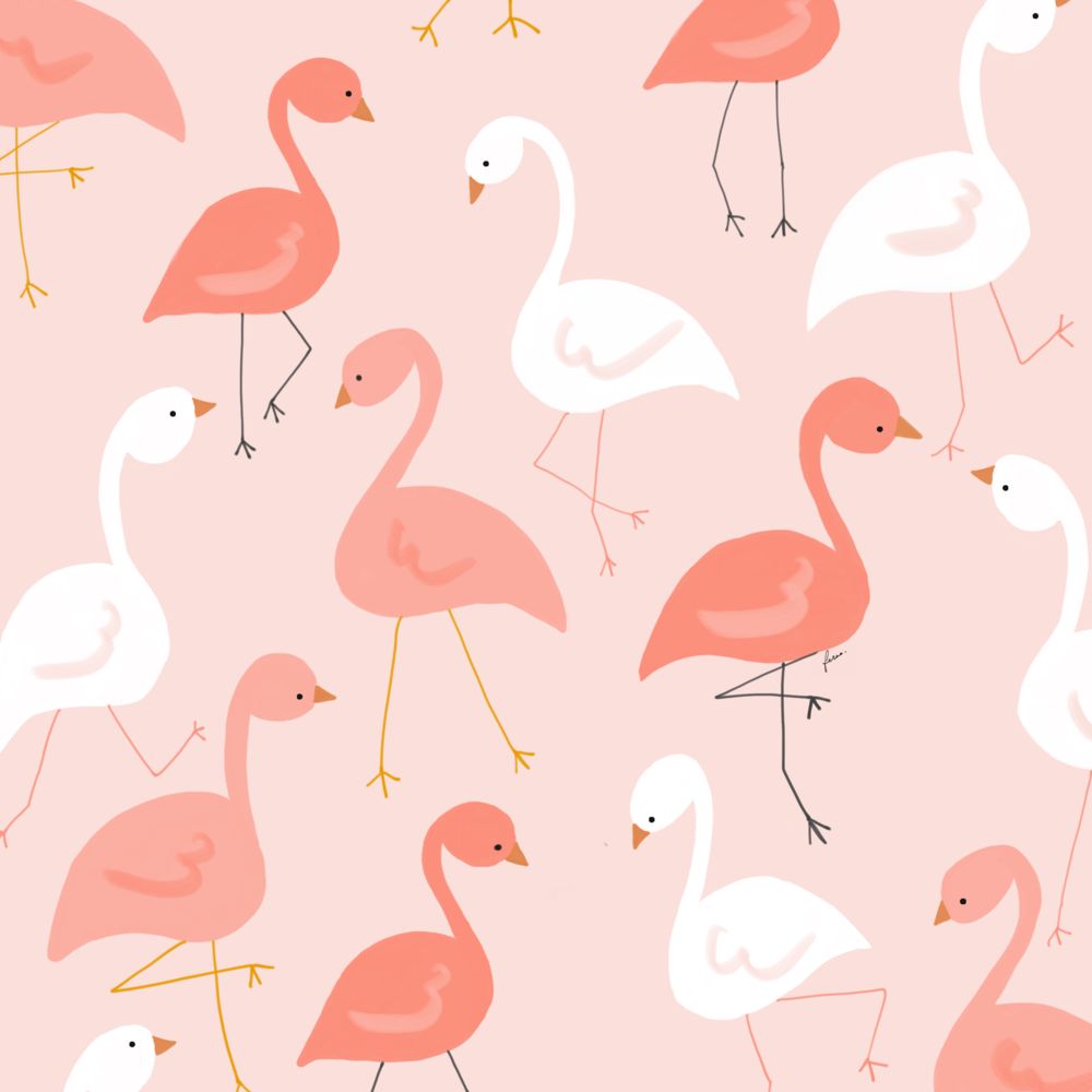 Dancing Flamingos   I started this illustration with the new 2019 Pantone colour in mind, but decided to go with something a little more subtle for my design.  Did you know that flamingos get their colours from carotenoids in their diet which consists of shrimps, blue-green algae and plant planktons. The more direct the source of carotenoids, the dark the colour!