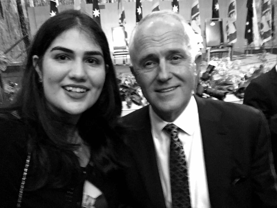 Caitlin and Prime Minister Malcolm Turnbull