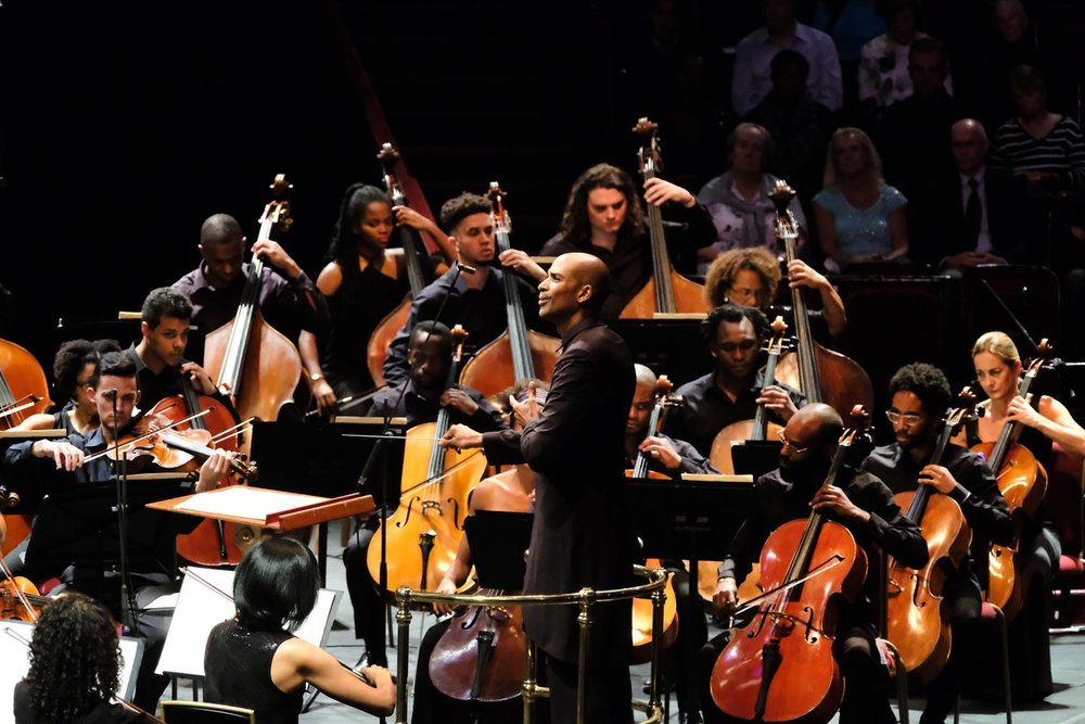 Conductor Kevin John Edusei and the Chineke! Orchestra. Image by Mark Allen