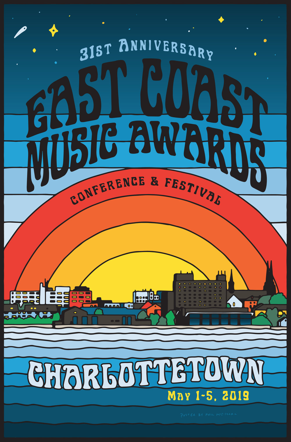 Poster for this year's ECMAs in Charlottetown. Featuring   Art-nuvo font