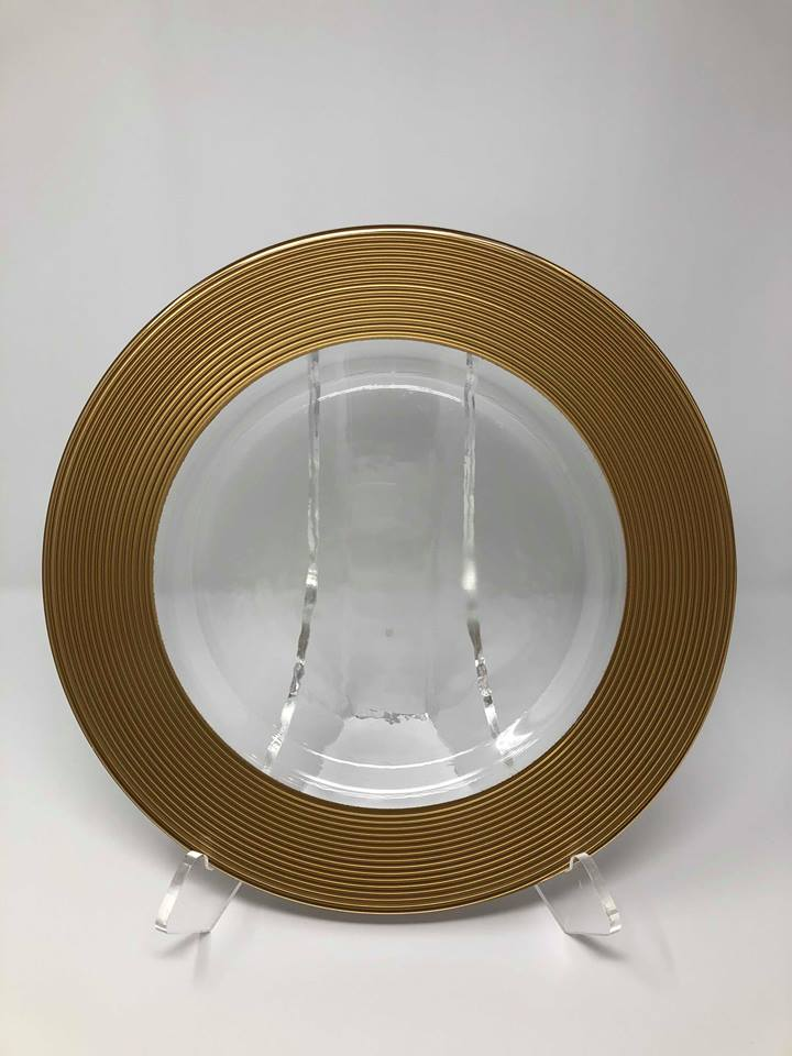 GOLD SATURN GLASS CHARGER -  $5/EA