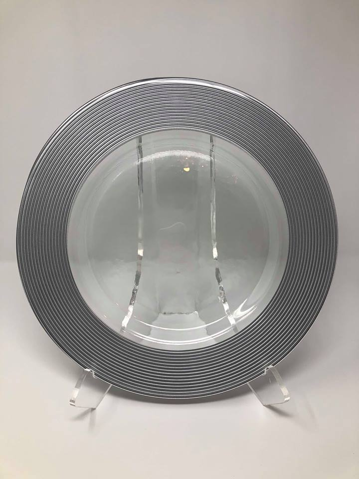 SILVER SATURN GLASS CHARGER -  $5/EA