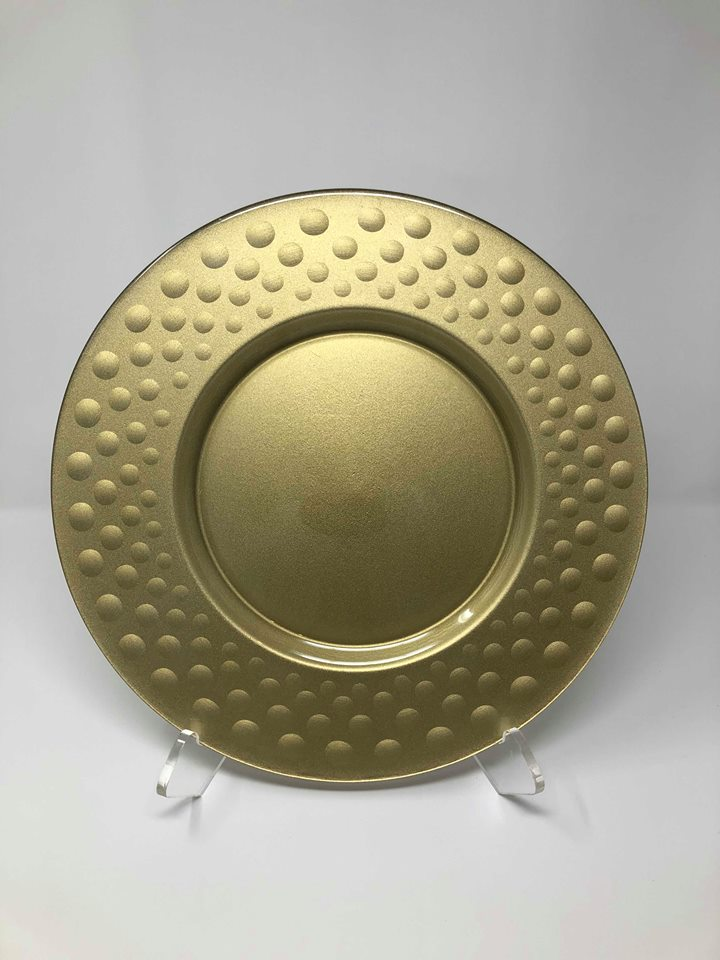 GOLD DOT RELIEF GLASS CHARGER -  $5/EA