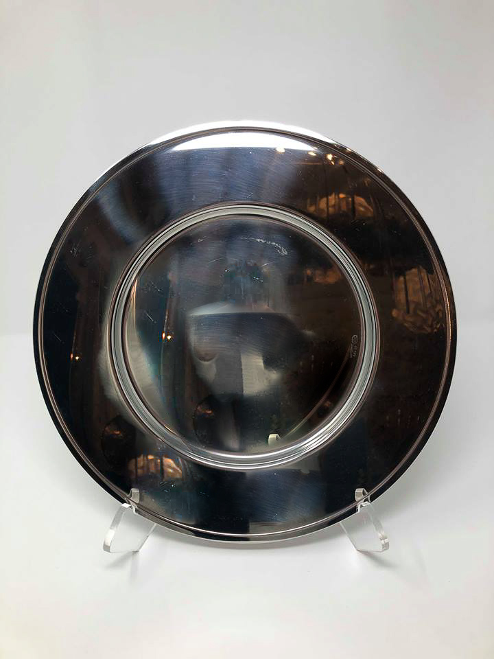 SILVER METAL ROUND CHARGER - $10/EA