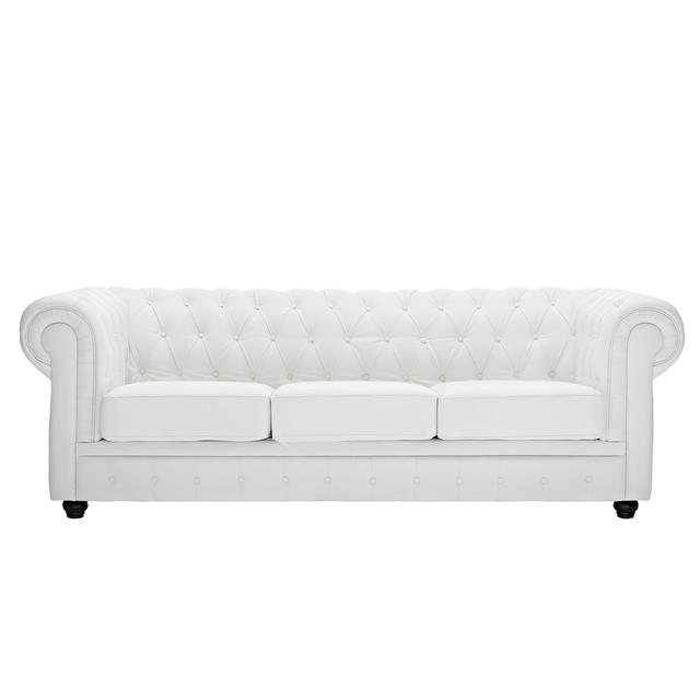 White Leather Chesterfield Sofa - $325