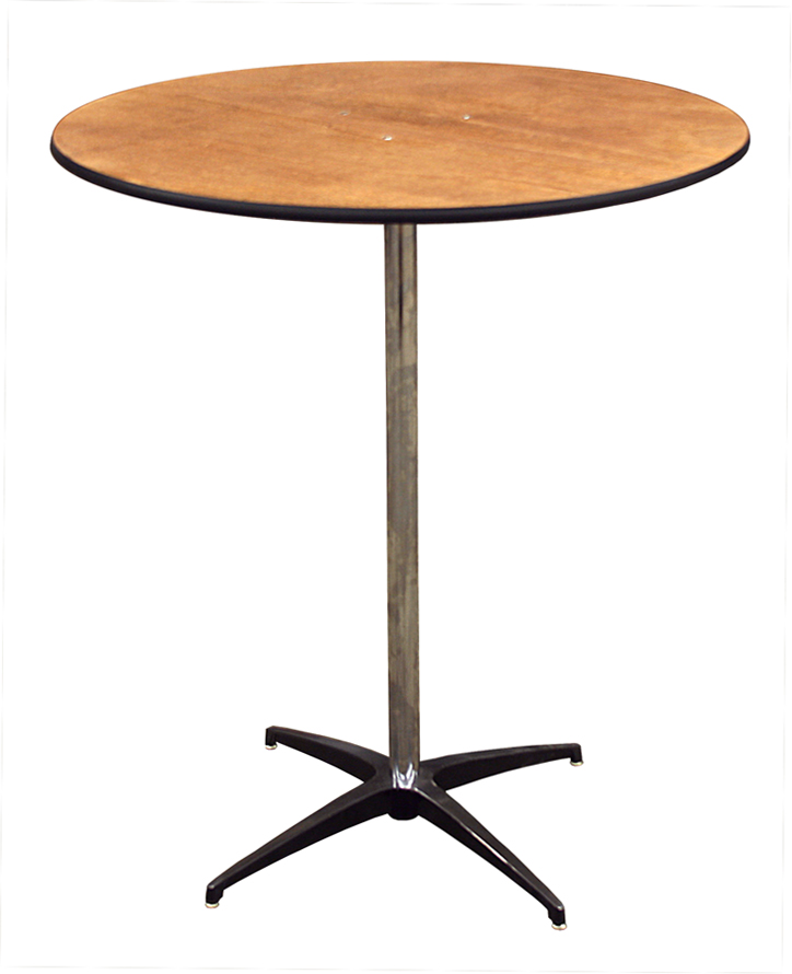 """Wooden Cocktail Table - Available in 30"""" + 36"""" - $9Perfect cocktail table for a specialty linen."""