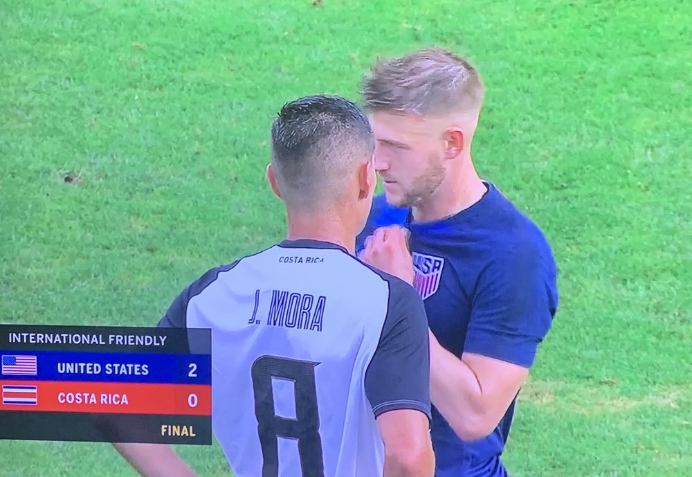 Joseph Mora and Paul Arriola after the USA vs Costa Rica friendly.