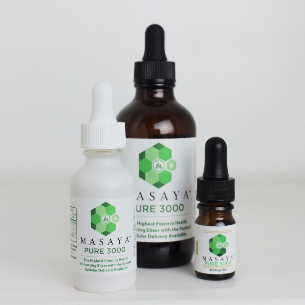 Masaya Pure 3000 - Our proprietary blend of pure 99% CBD provides the highest potency and quickest delivery available on the market at a transparent dosage of 100mg per dropper. Masaya is participating in studies to further verify these results.We currently offer 30mL and 15mL tinctures of Masaya CBD.