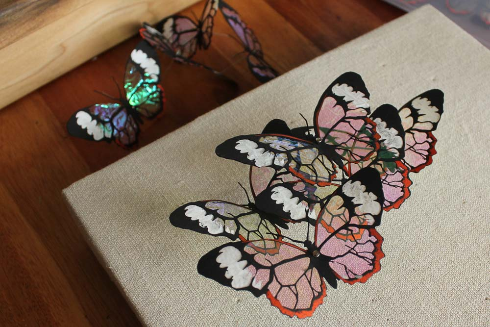 Screen printed and laser cut glass wing ( greta oto ) butterflies, 2018
