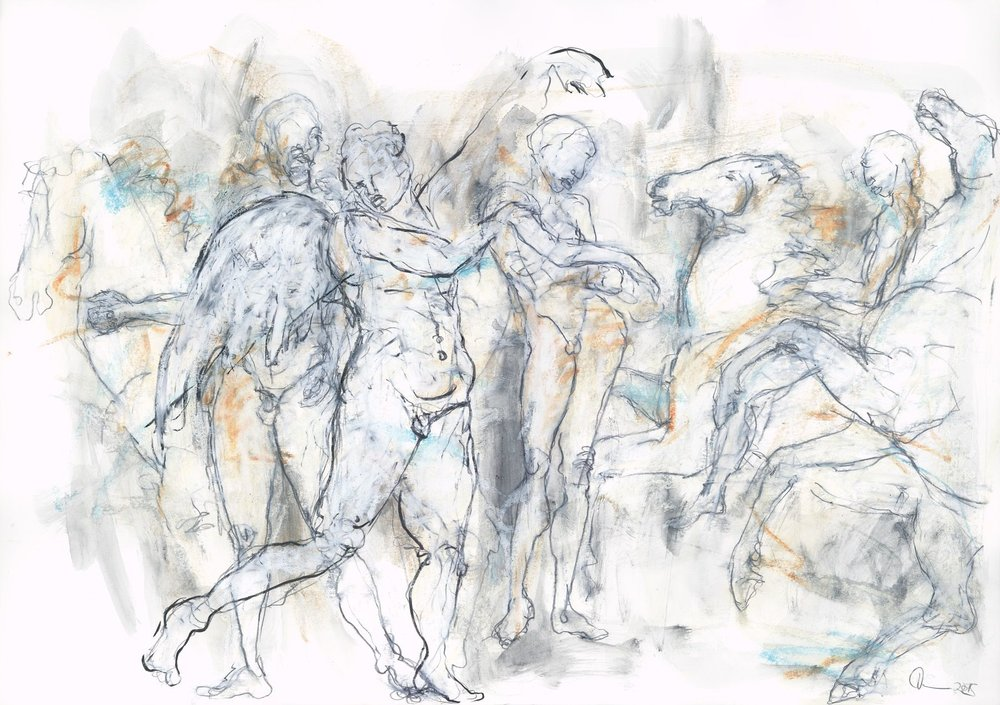 """Amor - Parthenonfries"" 42 x 59,4 cm Mischtechnik auf Papier  2015"