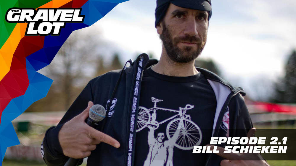 """Episode 53: Bill Schieken, of podcasting, video, blogging, writing, and so many other ventures, joins us in the studio this week while he is in Louisville for CX Nats. We talk basketball, hockey, cyclocross, CrossFit, and monster trucks. Listen!   Be Free Ride Bikes: Gravel Lot pre-orders are OPEN. Use code """"PEBBLES"""" at checkout for a 20% savings on TGL apparel.    RoadID: Use discount code """"PEBBLES"""" at checkout for $10 off ANY order over $20.    Handup Gloves: Use code """"PEBBLES"""" for 20% off EVERYTHING in store.    Noxgear: Use code """"PEBBLES"""" for 35% off any item.    Magas Law Firm:   Subscribe to The Gravel Lot on the  Wide Angle Podium Network and become a member TODAY!"""