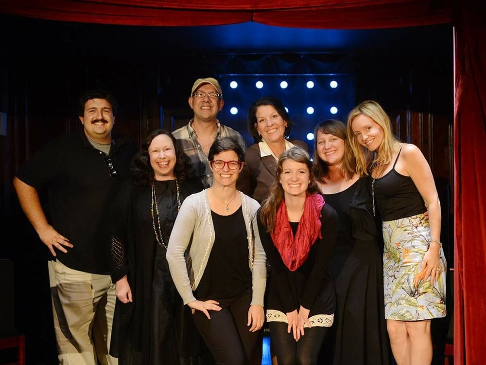 The cast of the New Feathers reading of INTERVIEWESE, with the playwright, director Alison Heishman, and producers Greg Nanni and Mandee Kuenzle Hammerstein.