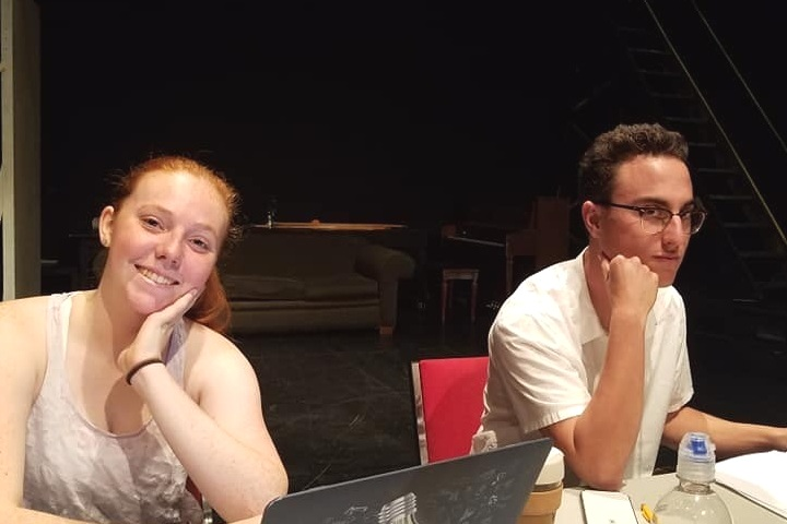 Stage Manager Stephanie Nielsen and actor Charlie Lavaroni workshopping BRISÉ with the UC Davis Ground and Field New Play Festival.