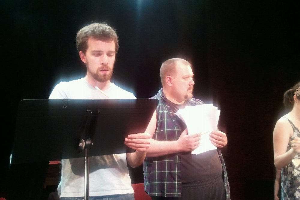 The Passage Theatre Company reading of THE AISLING, directed by Damon Bonetti.  Pictured, Matthew Ellis Murphy, John Jezior.