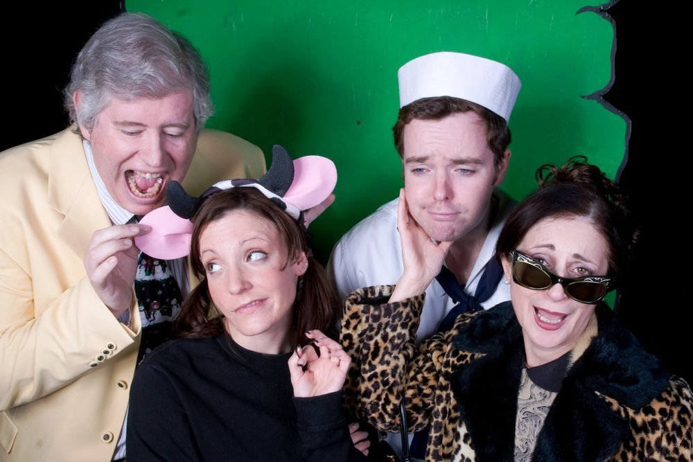 The cast of the original production of  Cow and the Beanstalk . From left to right: Paul Murphy, Cassie Balint, Michael Stanton Murphy, Rose Pedone Maloney