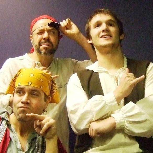 Members of the cast of  Treasure Island . Clockwise from top left: Paul Whelihan, Christopher Jones, Brian Townes