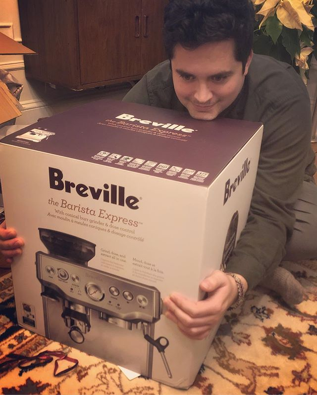 Christmas came early! Surprised @thekingofdaniels with an espresso machine. Just what he needs working six days a week AND through Christmas! 😅Latte art here we come!