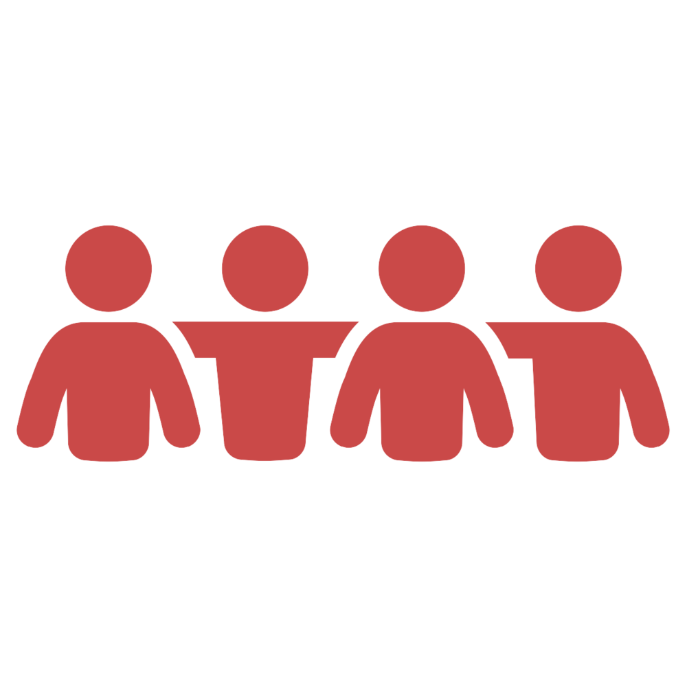 Group of people with arms over each other's shoulders.