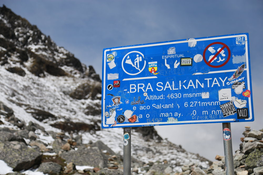 Salkantay Pass on day 2 of the Salkantay Trek to Machu Picchu.