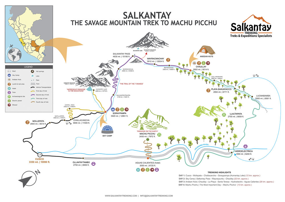 Map of our Salkantay Trek route to Machu Picchu, Perú.