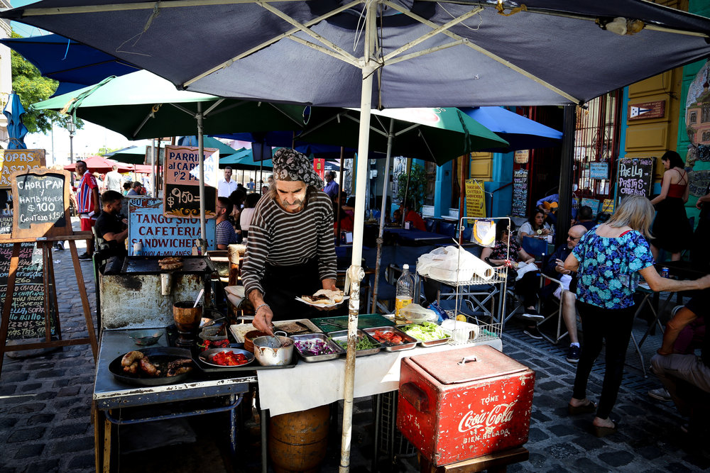 Street food in the super lively La Boca neighborhood of Buenos Aires.