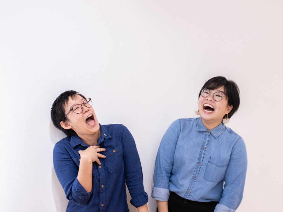 The riotous duo behind 8EyedSpud — Jackie (left) and Nat (right)