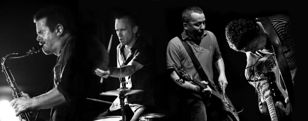 photo by Petra Cvelbar   Ken Vandermark : reeds /  Paal Nilssen-Love : drums /  Terrie Hessels : electric guitar /  Andy Moor : electric guitar