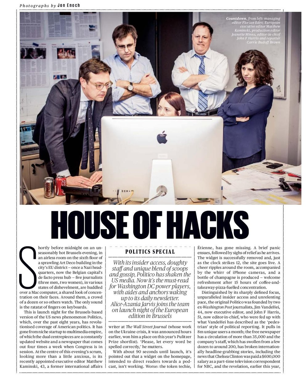 House of hacks - Shortly before midnight on an unseasonably hot Brussels evening, in an airless room on the sixth floor of a sprawling Art Deco building in the city's EU district — once a Nazi headquarters, now the Belgian capital's de facto press hub — five journalists , in various states of dishevelment, are huddled over a Mac computer. Around them, a crowd of a dozen or so others watch. The only sound is the ratatat of fingers on keyboards…READ MORE