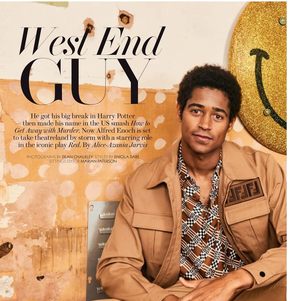 """West End Guy - When he isn't busy rehearsing for his latest play, or shooting his next TV show, Alfred Enoch likes to let his hair down.So he and his friends get together at one another's houses — and perform Shakespeare readings. 'We read Troilus and Cressida the other day,' enthuses the 29-year-old. 'We send an email round saying, """"These are the ones that we still haven't read.""""'So passionate is Enoch about these readings that when he moved to Los Angeles to shoot the blockbuster ABC drama How to Get Away with Murder…READ MOREPhotography: Dean ChalkleyStyling: Eniola Dare"""