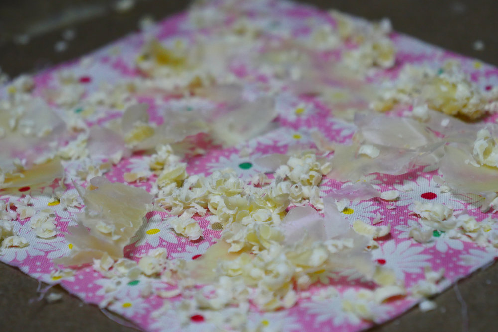 2. Sprinkle generously onto your fabric. -