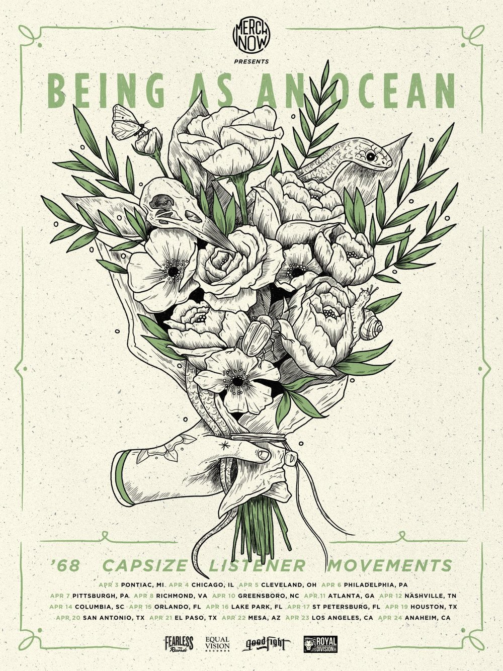We will be out on tour in April 2016 with @beingasanocean @theyare68@capsizeband@movementsofficial. Below are the dates with these rad bands. We will be adding more show stops before and after this tour in the coming weeks! Tickets are on sale now. See you soon!  April 03 - Pontiac, MI (The Pike Room) April 04 - Chicago, IL (Beat Kitchen) April 05 - Lakewood, OH (Mahall's) April 06 - Philadelphia, PA (The Voltage Lounge) April 07 - Pittsburgh, PA (The Altar Bar) April 08 - Richmond, VA (Canal Club) April 10 - Greensboro, NC (Arizona Petes) April 11 - Atlanta, GA (The Masquerade) April 12 - Nashville, TN (Rocketown) April 14 - Columbia, SC (New Brookland Tavern) April 15 - Orlando, FL (Backbooth) April 16 - Lake Park, FL (Kelsey Theater) April 17 - St Petersburg, FL (Local 662) April 19 - Houston, TX (Warehouse Live) April 20 - San Antonio, TX (The Korova) April 22 - Mesa, AZ (The Underground) April 23 - Van Nuys, CA (White Oak Music Hall) April 24 - Anaheim, CA (Chain Reaction)