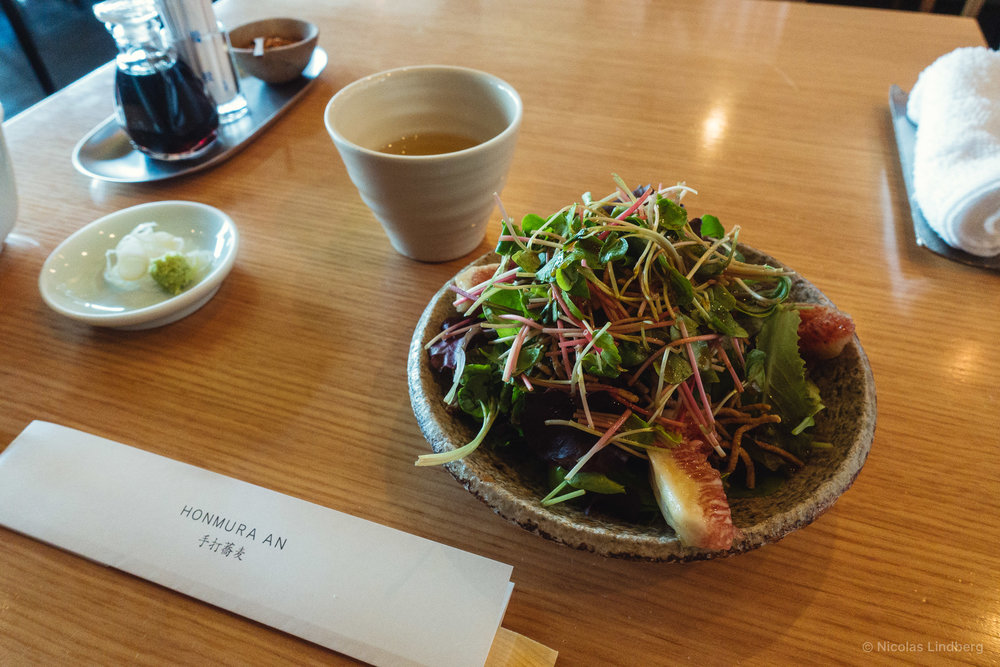 Mixed greens, figs, soba crunch, fresh soba
