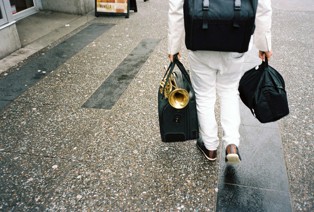 Three black bags and a trumpet, Vancouver © Tanya Clarke 2018