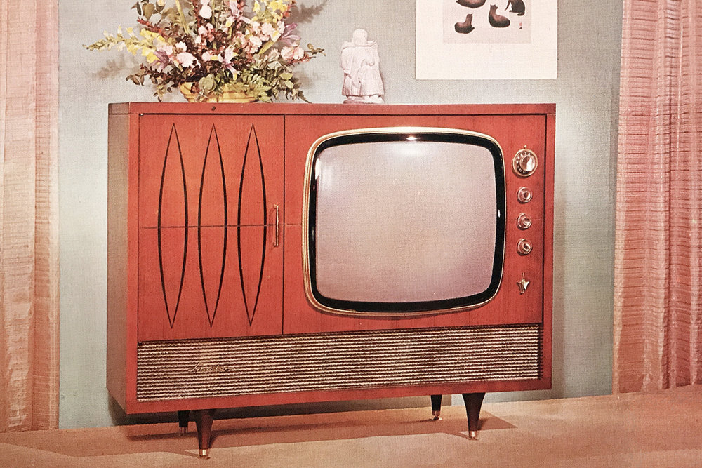 """Postcard description: 23"""" TV chassis plus Hi-Fi automatic record changer - in one Deluxe, genuine wood cabinet. Available in either Eskimo or Tahitian design © Quantity Postcards 1997"""