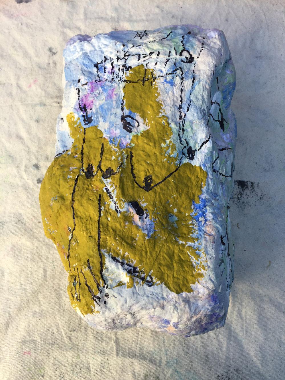 helpless (torso) 2018 gouache and sharpie on handmade paper around plastic waste materials