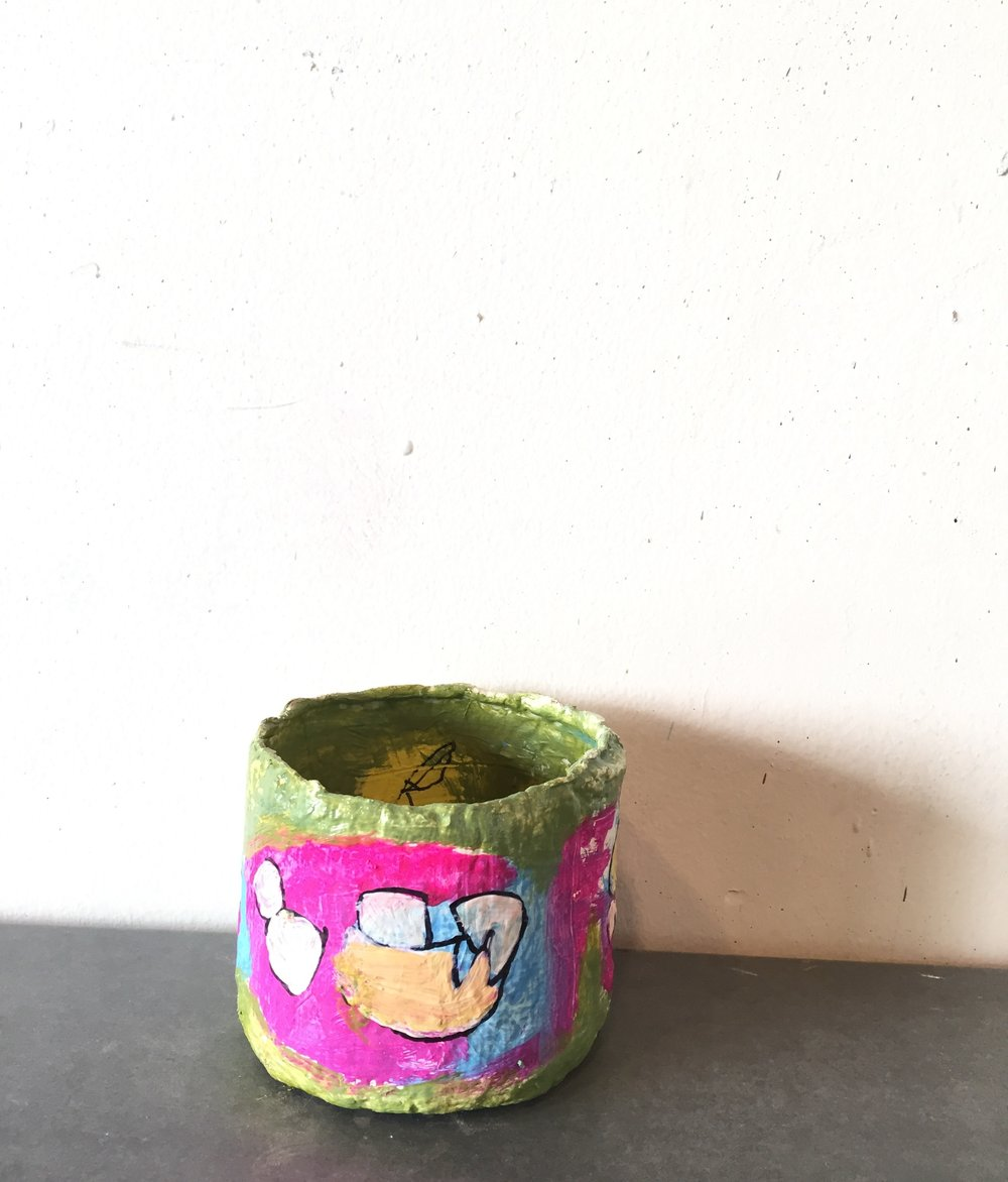 cup that can't hold water. 2018 gouache and sharpie on handmade paper