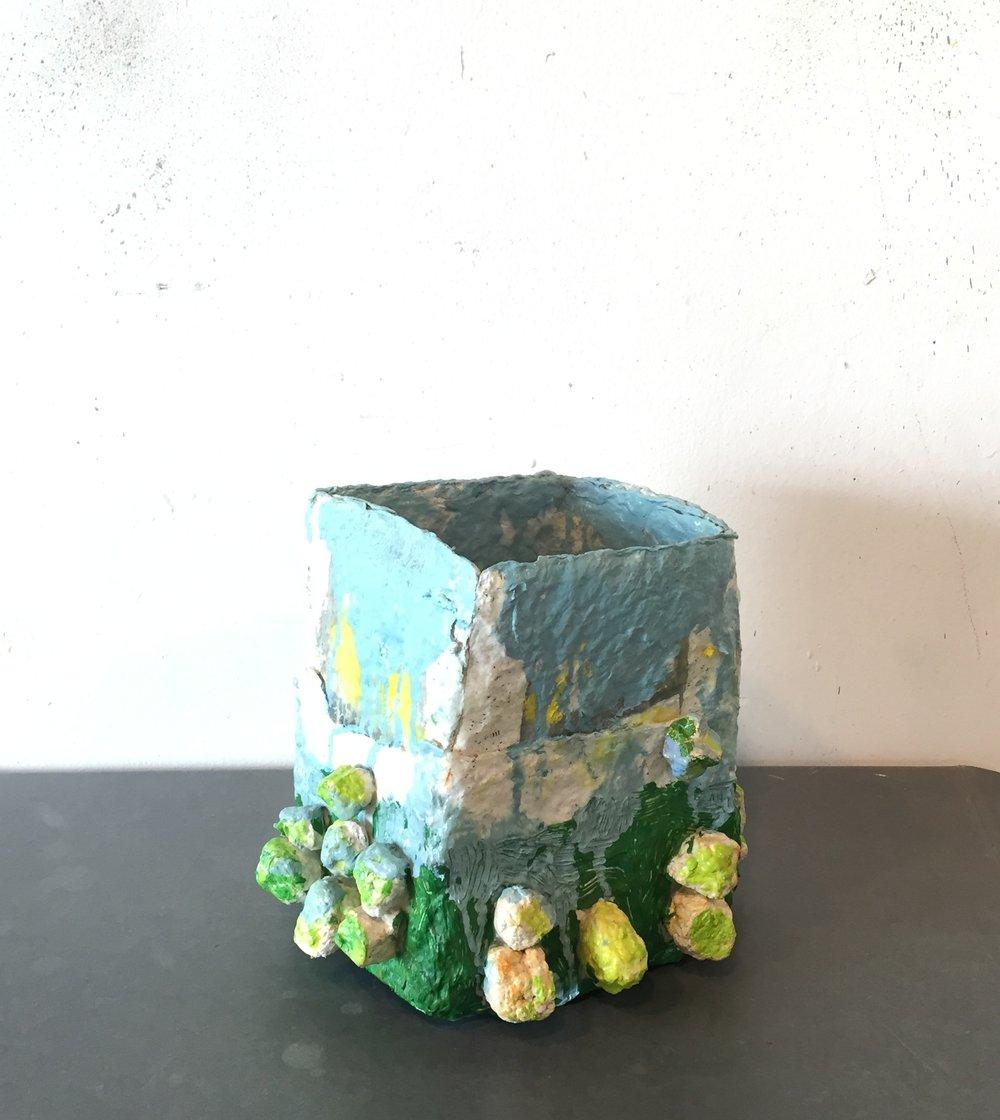 awkward landscape form (2 views) 2018 gouache on handmade paper