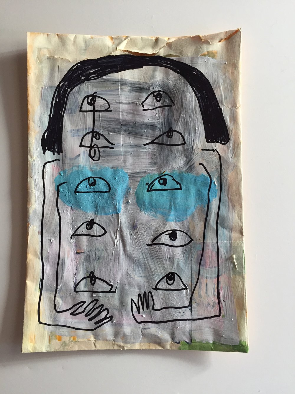 one with eyes 2019 gouache and sharpie on manila envelope