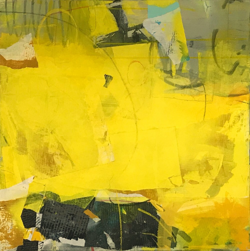 Yellow Cumulus  30 x 30, mixed media on canvas