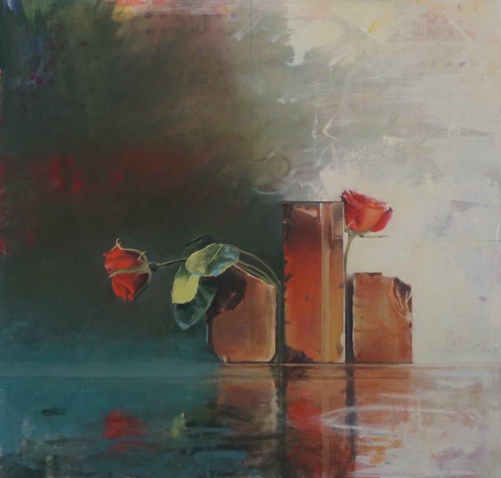Hide and Seek,  Jessup Cellars Gallery  35 x 37, oil on canvas