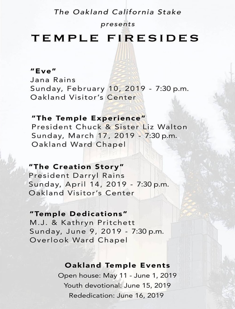 Oakland Stake Firesides