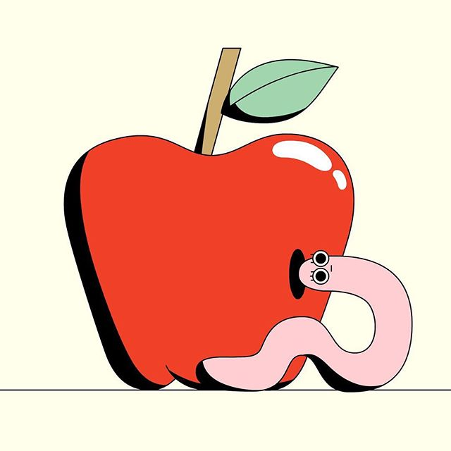 Jeff the worm tries to escape his comfort zone but fails to do so. 🍎 Swipe to see the animation.  ___  #momesocial #2danimation #framebyframe #motiongraphics #mdcommunity #adobeanimate #mgcollective #clipstudiopaint #fruit #apple #cspcontest19 #createdonsurface