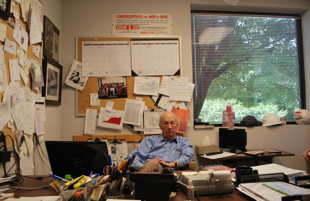 Adam and Eve co-founder Phil Harvey sits in his office at his sexual paraphernalia company in Hillsborough, North Carolina. Photo by Nick Keppler for Splinter.