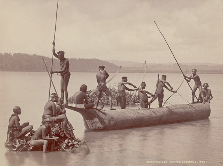 Group of Andaman men and women. Image courtesy of Wikimedia Commons, source: Smithsonian Institution.