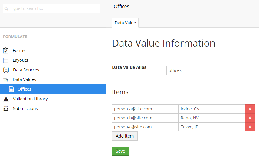 "A ""Pair List"" data value, with the value of each being an email address."