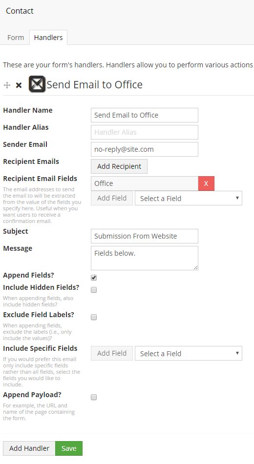 "The ""Recipient Email Fields"" has the ""Office"" field selected."