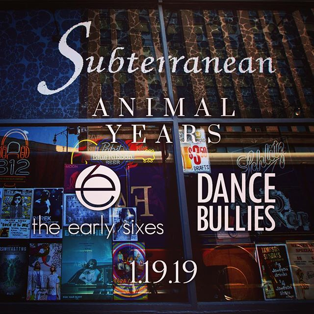 This SATURDAY - we are excited to be at @subtchicago supporting the amazing @animalyearsmusic with @dancebullies! It will be an amazing show to kick off 2019 and a great way to beat the cold. Tickets still available. See you there! @kickstandproductions . #earlysixes #animalyears #dancebllies #concert #music #chicagoconcert #chicagogram #musiciansofinstagram #musicgram #music #musically #singersongwriter #indiemusic #folk #folkmusic #indieartist #chicagoconcerts #chicago #subterranean #wickerpark #livemusic #alternativemusic