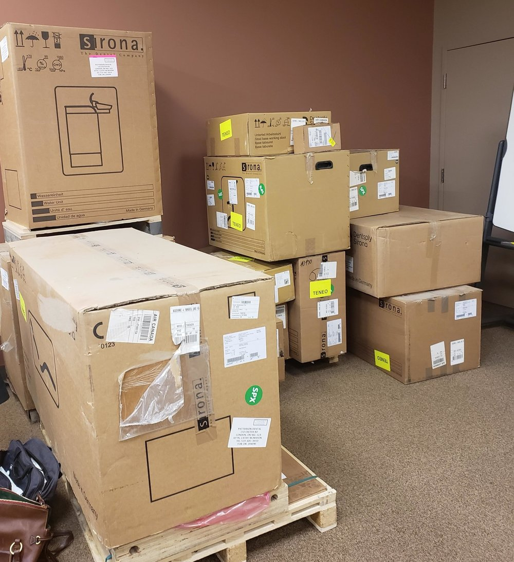Can you believe all these boxes are ONE treatment center! Shipped in from Germany!