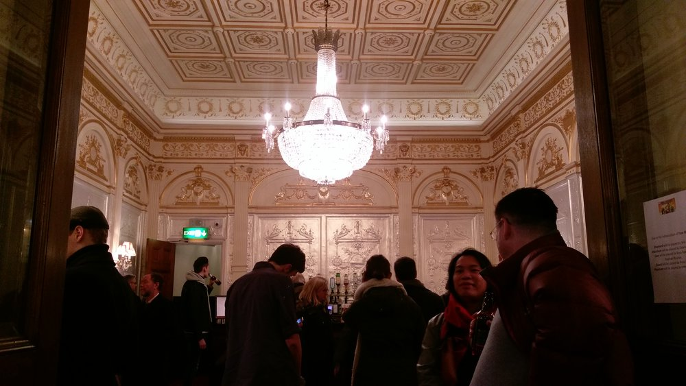 The gold and silver Foyer Bar at the Garrick Theatre