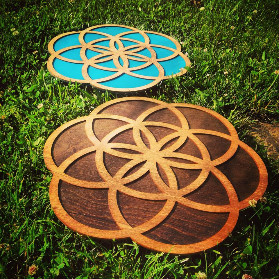 Flower of Life Art - Teal and Wood.jpg